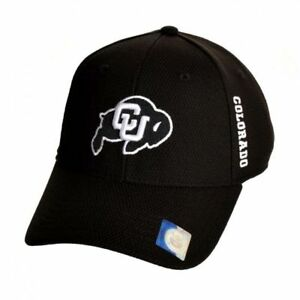 COLORADO CU BUFFALOES NCAA (TOP OF THE WORLD) PARALLAX STRETCH CAP HAT NWT BLACK