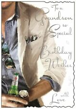 "Jonny Javelin Grandson Birthday Card - Man with Beer Silver Foiled Text 9x6.25"""