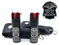 2 Police OC-17 pepper spray keychains Black case Self Defense Safety Protection