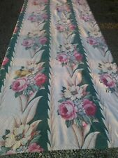 Vintage Barkcloth Glen Court Drape Fabric Panel Pink Roses Green Stripe