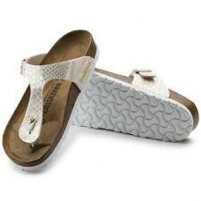Birkenstock GIZEH 847431 Reg Ladies Womens Toe Post Summer Sandals Snake Cream