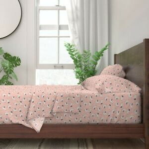 Coral Mint Seagull 100% Cotton Sateen Sheet Set by Roostery