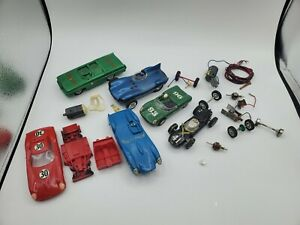 Vintage Strombecker and others slot race car parts pieces lot broken