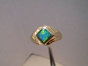 Opal and  Diamond Men's ring  14 k Yellow Gold  Size 10 3/4