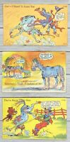 Lot of 3 Vintage Curt Teich Linen Humor Funny Comic Postcards