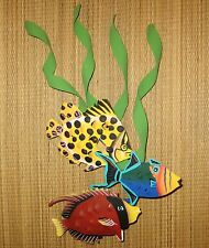 "HAND PAINTED METAL ART 3 FISH WALL SCULPTURE 13"" HIGH"