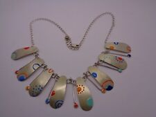 DESIGNER STERLING SILVER 925 NECKLACE WITH ENAMEL PARTY PROM FESTIVAL