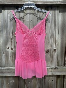 Women's Frederick's Of Hollywood Pink Lacey Sheer Butterfly Floral Cami Size M