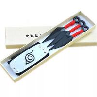 Naruto Leaf Village Ninja Headband and Kunai Cosplay Shinob Props Gift Red Anime