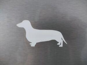 Dachshund Sausage Dog Matte Sticker Car Wall Window Decal Silhouette Dog - White