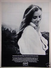PUBLICITÉ 1969 FEMME SANS VISON SAGA C'EST UNE FLEUR SANS SOLEIL - ADVERTISING