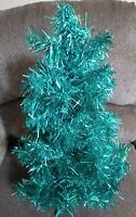 "Vintage Tinsel Christmas Tree Tabletop Turquoise Mini about 19"" MCM Blue Green"