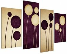 Large Plum Purple Cream Abstract Canvas Wall Pictures Prints Art 4124