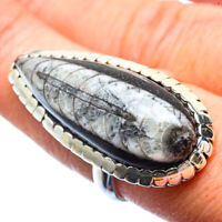 Large Orthoceras Fossil 925 Sterling Silver Ring Size 8.75 Jewelry R39947F