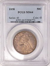 1858 PCGS MS64 Seated Half, original mint luster & nice strike, SCARCE TYPE COIN