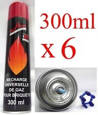 Lot 6 Recharge Universelle Gaz Butane Briquet Chalumeau 300ml 5 Têtes