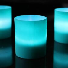 Teal Green Tea Light Candle Holders with White LED Set of 6 by PK Green