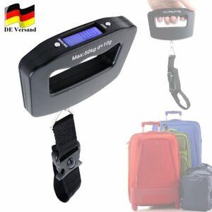 Digitale Kofferwaage mit LCD Display bis zu 50 kg schwarz Gepäckwaage Reisewaage