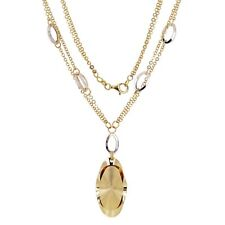 "Italian 14k Two Tone Gold Double Fancy Chain Oval Pendant Necklace 17"" 12.2g"