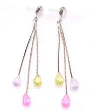 Women Birthday White Gold Plated Swarovski Element Crystal Long Dangle earrings