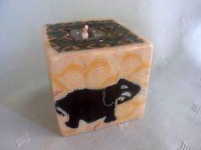 Swazi Kerze Cube Smal Afrika Elefant Fair Trade 6 x 6 cm