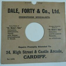 "78rpm 10"" card gramophone record sleeve / cover DALE, FORTY & CO Cardiff"