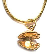 Ladies Necklace Pendant Shell Rhinestone Jewellery Fashion Gold Coloured 42 cm