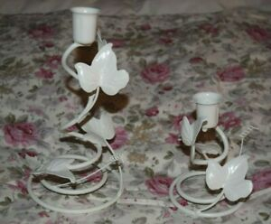 Shabby Chic White Candlestick Taper Candle Holder Set Ivy Leaf Cottage Farmhouse