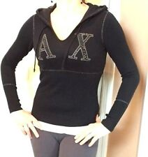 Armani Exchange A/X Studded Knit Black Pullover Hoodie, MEDIUM, SUPER CUTE!