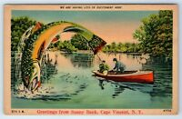 Vintage Postcard Greetings From Sunny Bank Cape Vincent NY Fish Exaggeration