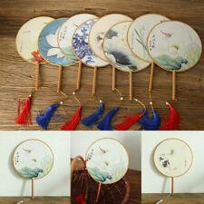 Retro Chinese Palace Art Round Craft Ladies Classical Dance Fan Hanfu Cosplay