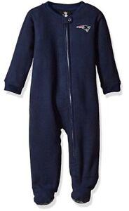 New England Patriots NFL Infant Baby Boys Zip-up Sleeper Pajamas: 0m-12m