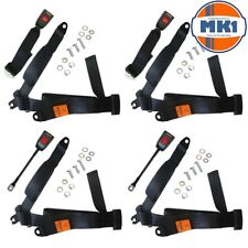 Mazda RX3 RX4 Coupe Front & Rear Full 3 Point Static Seat Belt Set Black