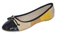 Black, Beige, Brown, Yellow Flat Pumps Bow Ballerina UK 3 4 5 6 7 7.5