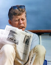 JFK John F Kennedy SMOKING CIGAR & NEWSPAPER  Professional Printed Photo 11x14