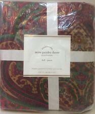 NIP Pottery Barn Red MIRA PAISLEY Duvet Cover FULL/QUEEN