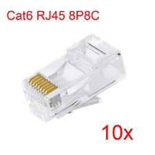 Lot 10pcs Cat6 RJ45 8P8C Gigabit Ethernet Network Modular Connector Plug