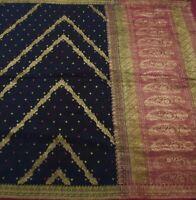Details about  /Vintage Bandhani Printed 100/% Silk Saree Used Craft Fabric Orange-8mV