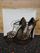 Steve Madden Avory Black/Gold Platform Women's Heels Shoes Size: 8.5 NWB