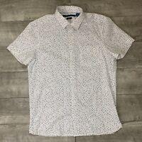 Perry Ellis Men's Button Down Polka Dot White Slim Fit Stretch S/S Shirt Sz M