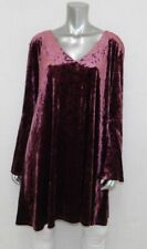 ANA NEW Wine Purple Stretch Velour V-Neck Bell Sleeve Tunic A-Line Dress sz XXL