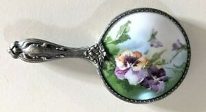 Beautiful Victorian Silver Plated & Porcelain Floral Hand Painted Enamel Mirror
