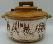 Norleans Soup Tureen COLONIAL SCENE w/ Wood Grain Lid MCM Japan Vintage Pottery