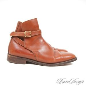 Anonymous Vintage Chili Sunset Mottled Leather Gold Buckle Jodhpur Boots 8.5 NR
