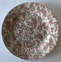 """CHURCHILL ENGLAND SINGLE MUTED RED PINK ROSES PEONY 10 3/8"""" DINNER PLATE"""