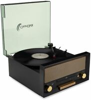 All-In-One Retro Turntable with CD Player, FM Radio, Bluetooth, Aux-In, USB