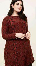 NEW LOOK size 26 burgundy SNAKE PRINT SHIFT DRESS long sleeves BLACK xmas party