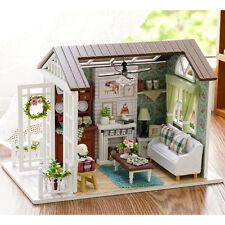 DIY Mini Wooden Dollhouse Happy Times Doll House LED Music Lights Furniture Kits
