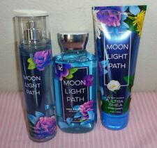 bath and body works moonlight pathshower gel, body mist & body cream set of 3