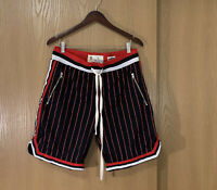 Bascom Projects Mens Shorts Basketball Shorts Mesh Stripes Sz L Black Red White